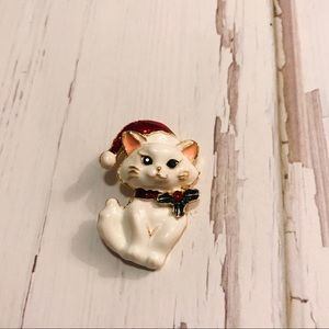Jewelry - White cat holiday pin brooch
